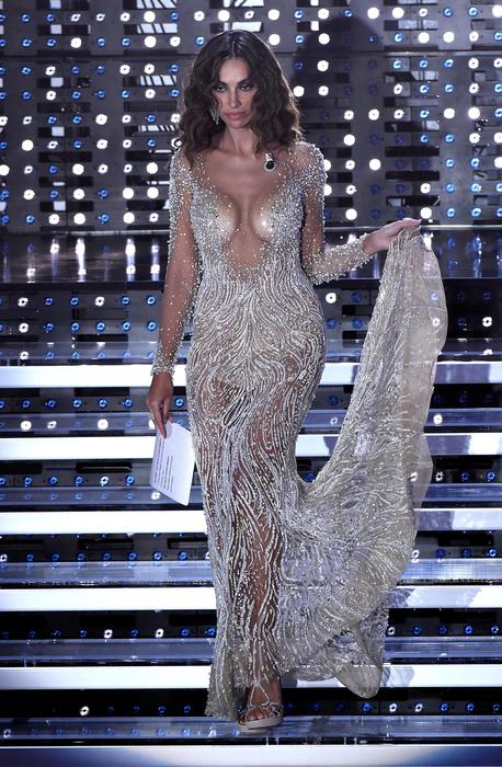 Romanian actress Madalina Ghenea on stage during the Sanremo Italian Song Festival at the Ariston theater in Sanremo, Italy, 11 Februaty 2016. The 66th Festival della Canzone Italiana runs from 09 to 13 February. ANSA/CLAUDIO ONORATI
