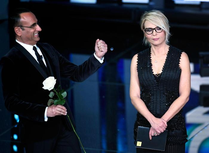 Italian hosts Carlo Conti and Maria De Filippi on stage during the 67th Festival of the Italian Song of Sanremo at the Ariston theater in Sanremo, Italy, 07 February 2017. The 67th edition of the television song contest runs from 07 to 11 February. ANSA/CLAUDIO ONORATI