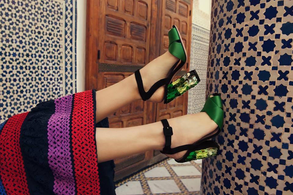 sandali tacco paillettes