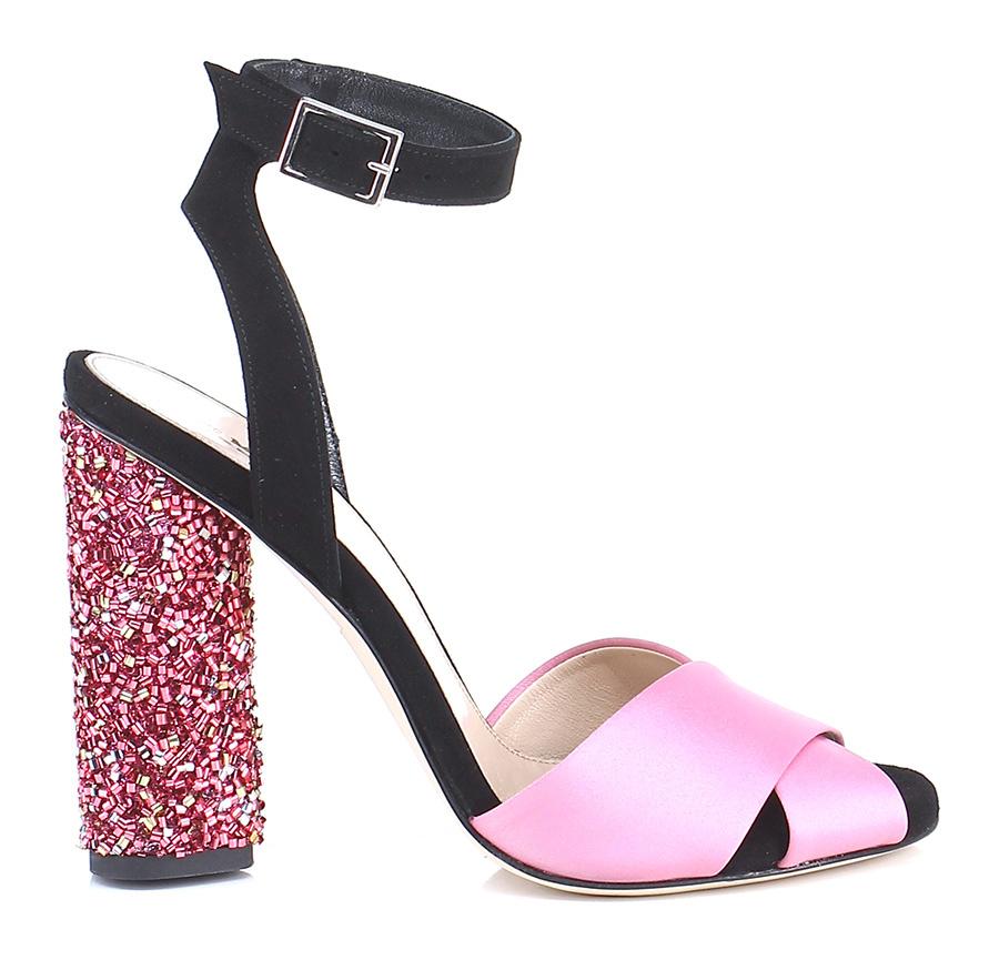 sandali con tacco glitter