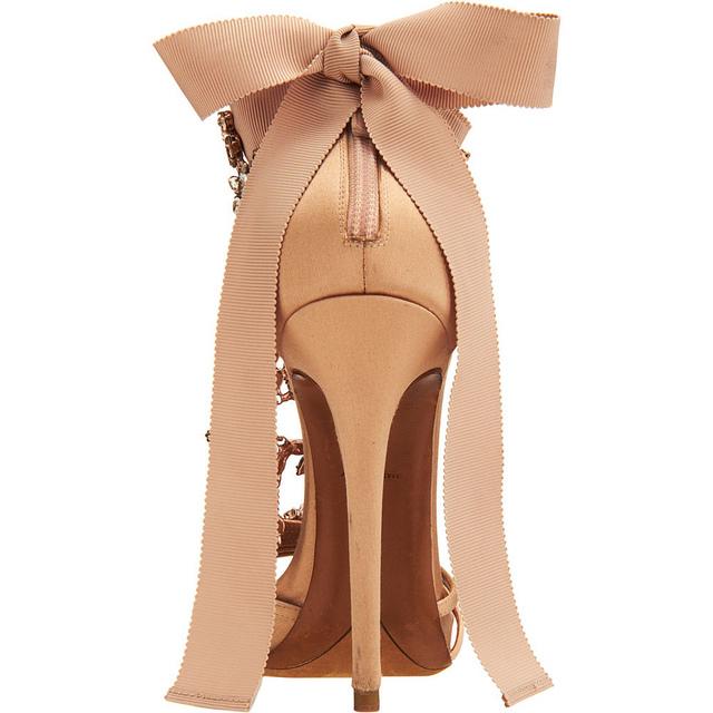 sandali gioiello maxi fiocco rosa tacco alto