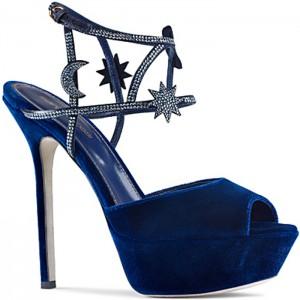 sergio rossi sandalo velluto blu stelle