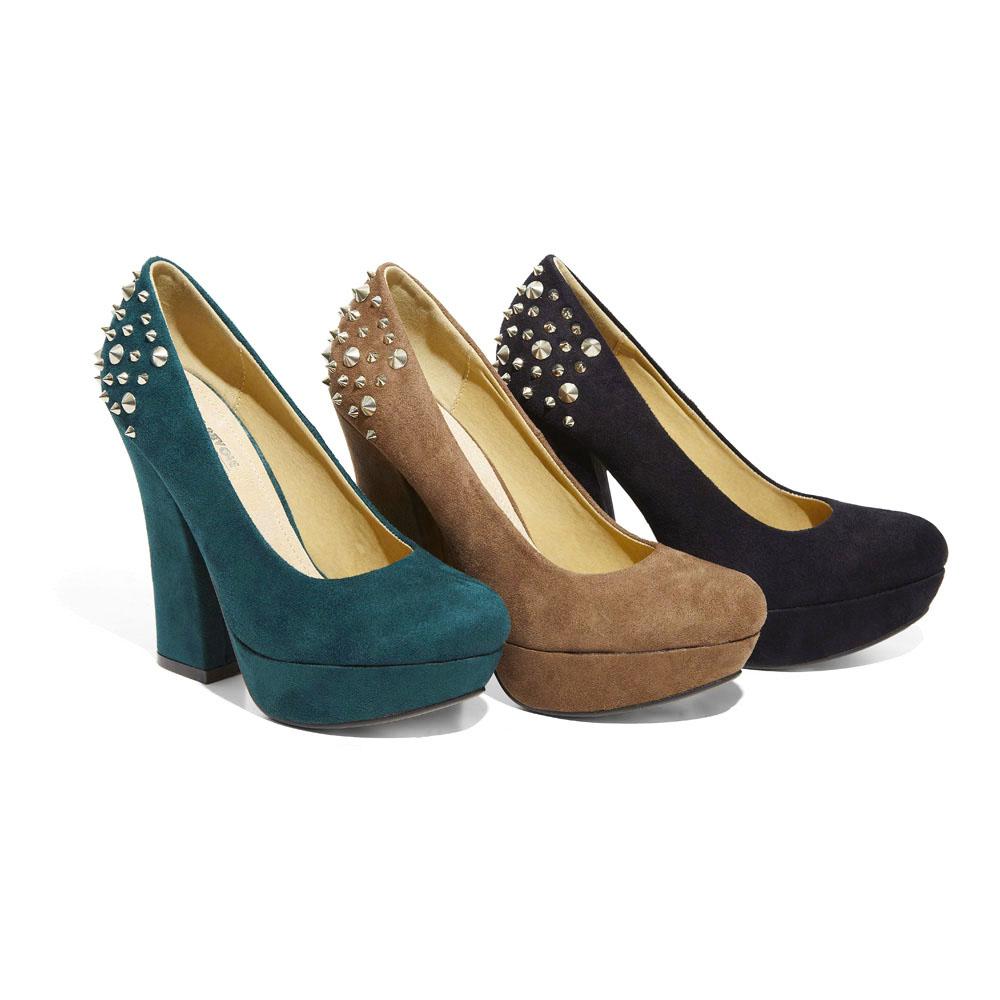scarpe verde smeraldo low cost decolletè borchie low cost tacchi alti