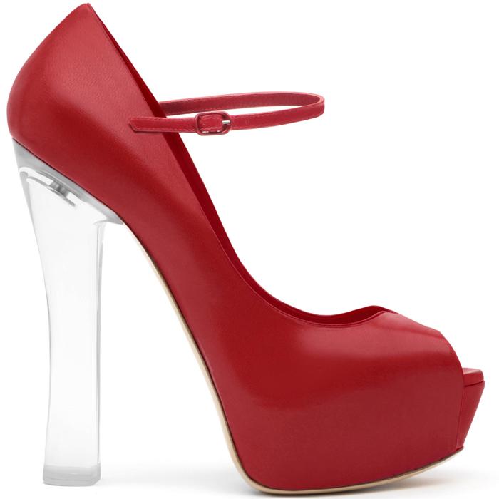 scarpe rosso fuoco tacco plexiglass casadei 2013 tacco altissimo