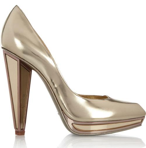 scarpe YSL tacco altissimo dorato tacco gioiello