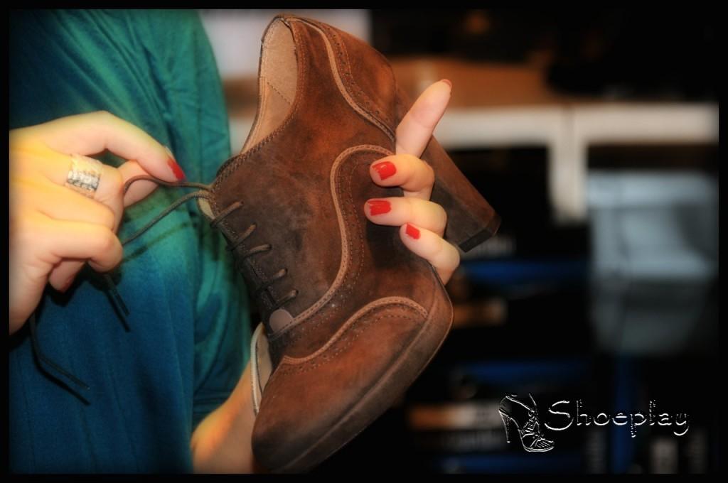 scarpe francesine camoscio marrone