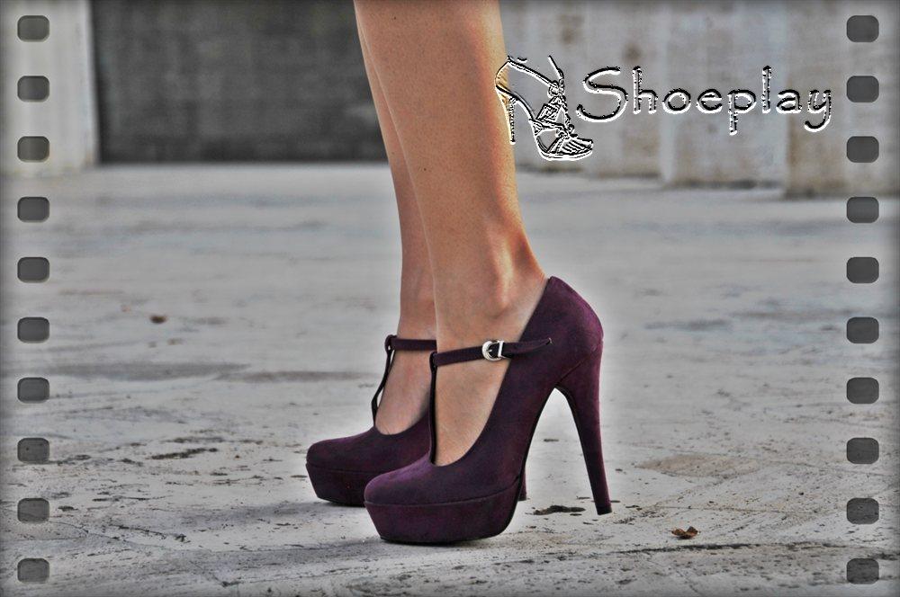 scarpe viola tacco alto low cost
