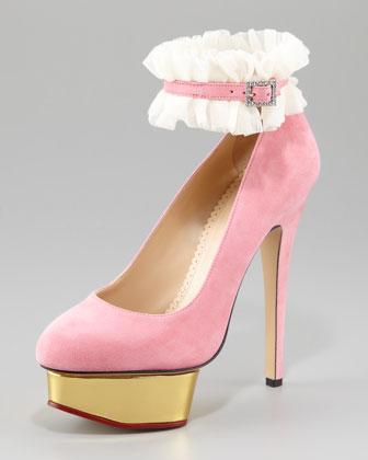 decolletè rosa charlotte olympia cavigliera bianca alta in pizzo