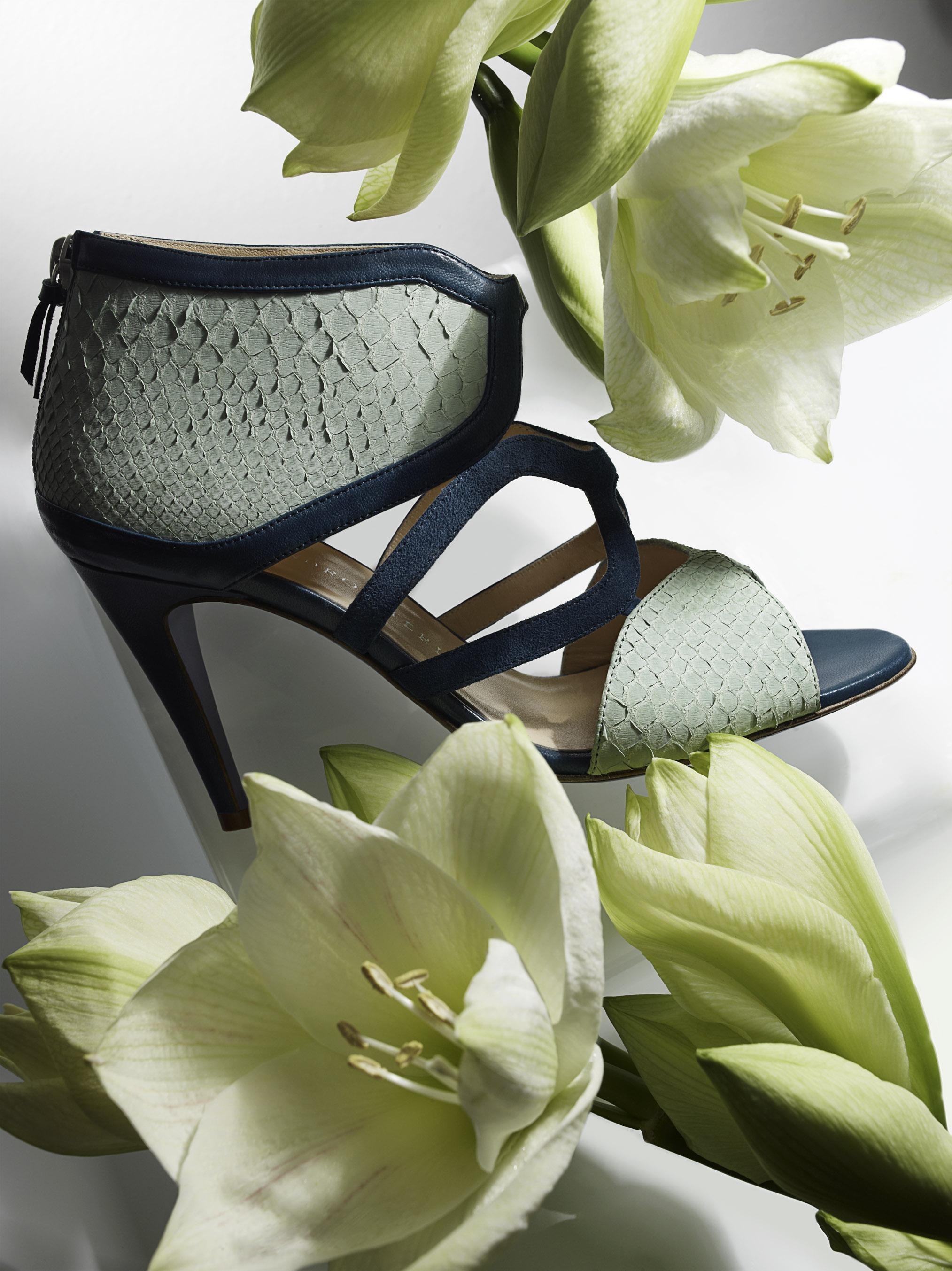 sandali verdi e blu 2013 pelle rettile tacco comodo