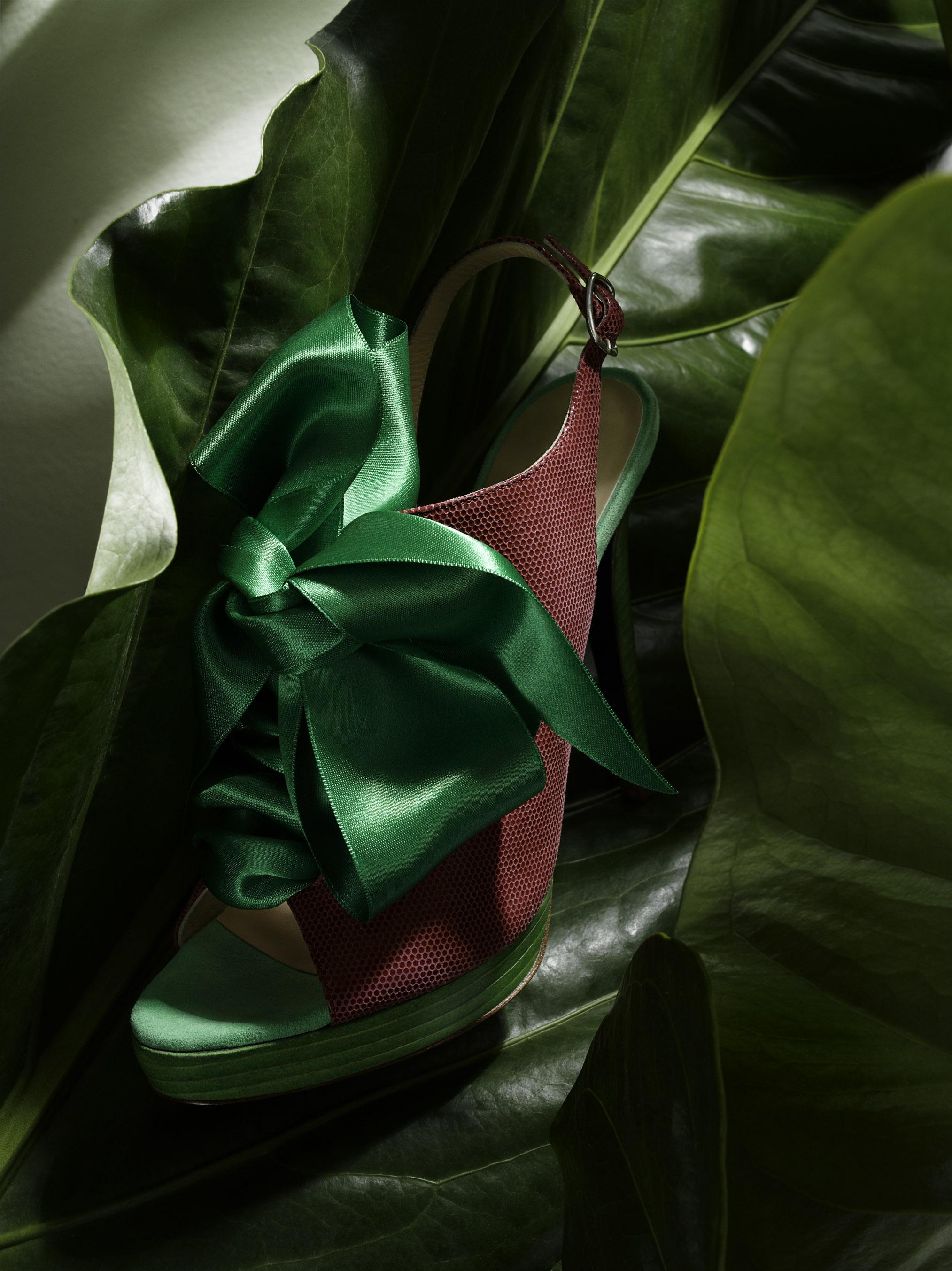 sandalo fiocco verde smeraldo oteri tacco alto 2013