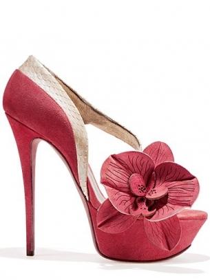 sandalo rosa fuxia maxi fiore tacco altissimo gaetano perrone 2013