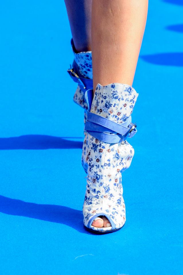 SS 2014 daniele amato floral print open toe booties