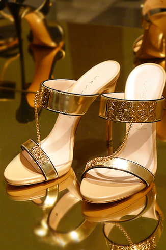 casadei SS 2014 mules chain gold