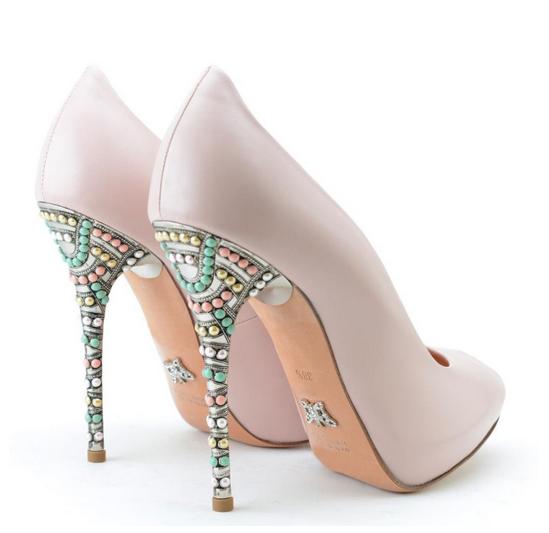 scarpe rosa tacco gioiello