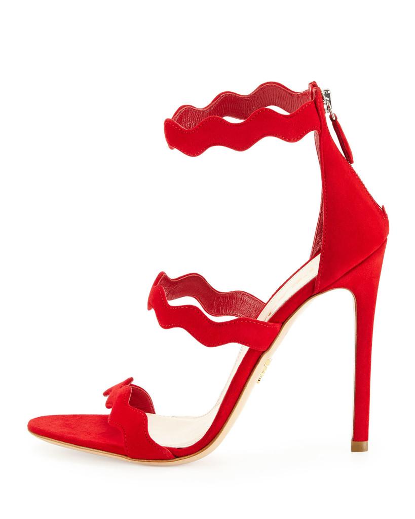 prada red suede sandals ss2015
