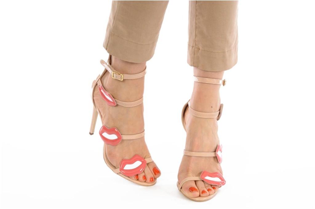sandali pelle nude e rossa