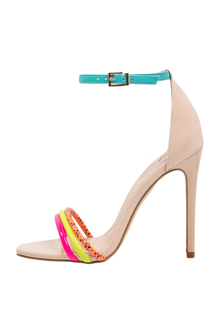 Sandali minimal rosa nude con inserti fluo || Shoeplay.it