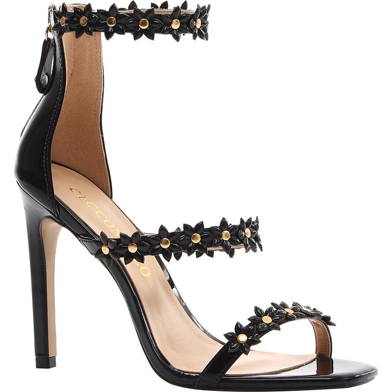 sandali neri fiorellini 2016