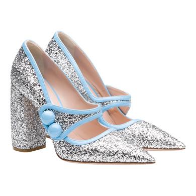 scarpe glitter miu miu block heel 2015 2016