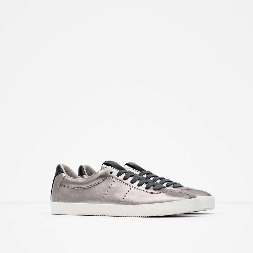 zara sneakers argento