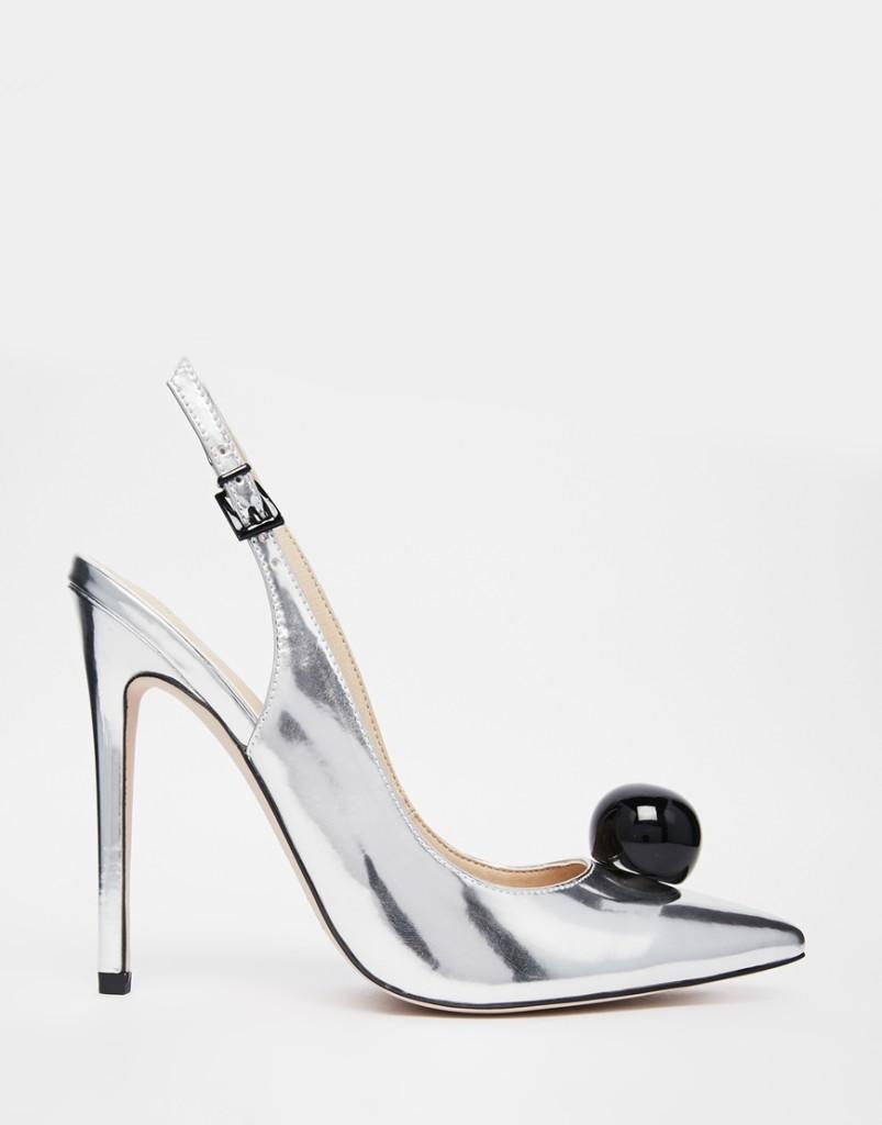 scarpe argento tacco alto