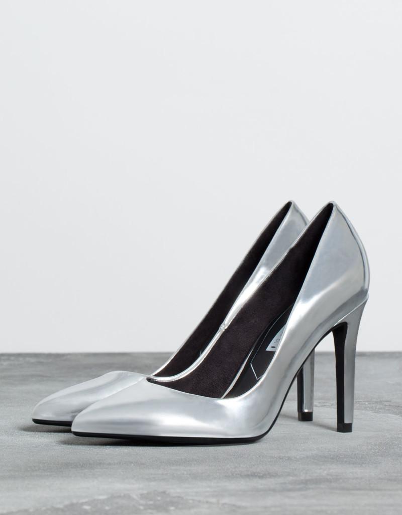 scarpe argento tacco comodo low cost