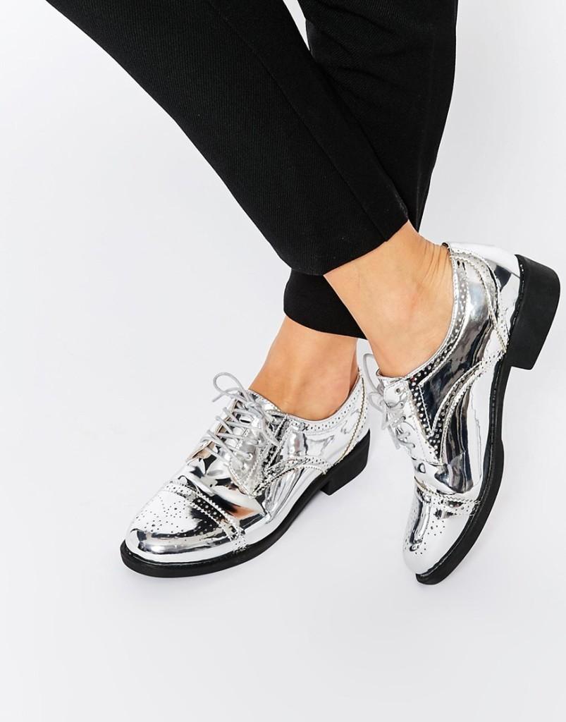 scarpe stringate argento