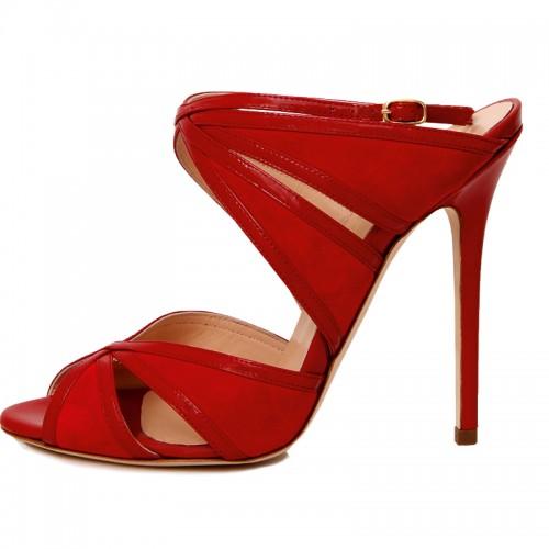 sandali rossi tacco alto cerasella milano