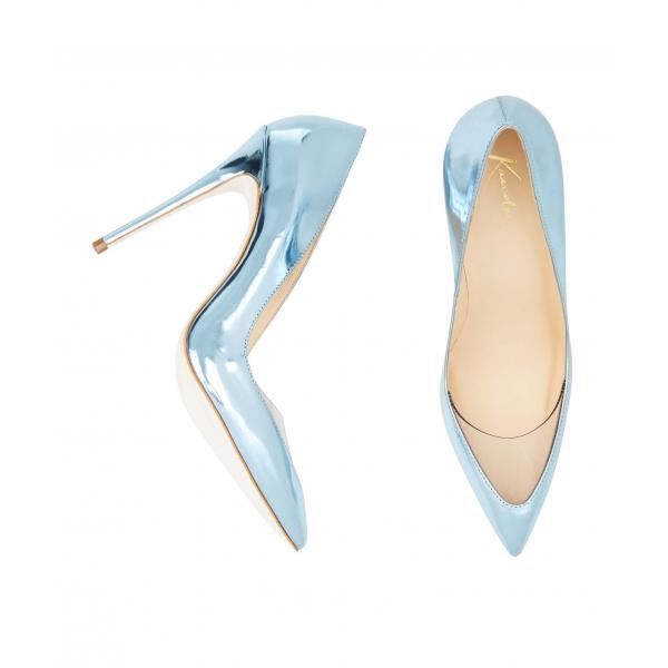 scarpe azzurre metallizzate