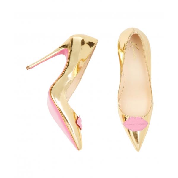 scarpe dorate e rosa metal
