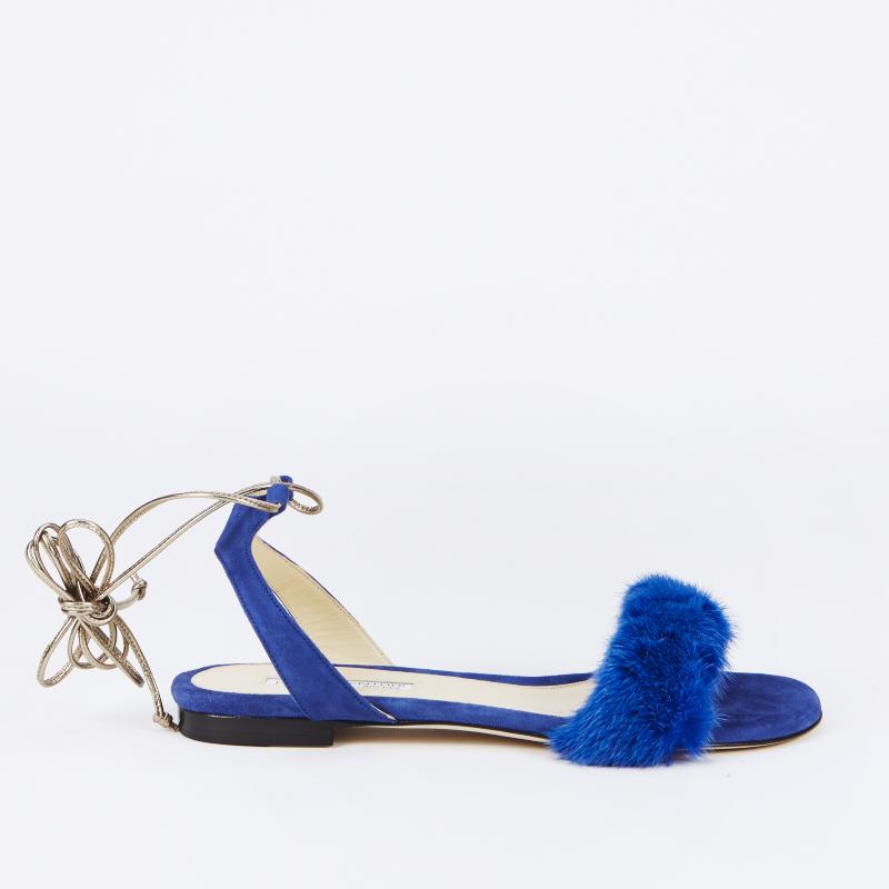 sandali pelliccia blu