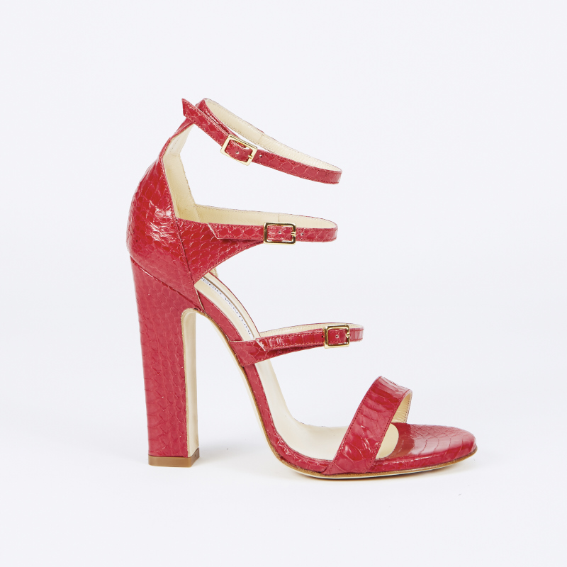 sandali rossi tacco grosso