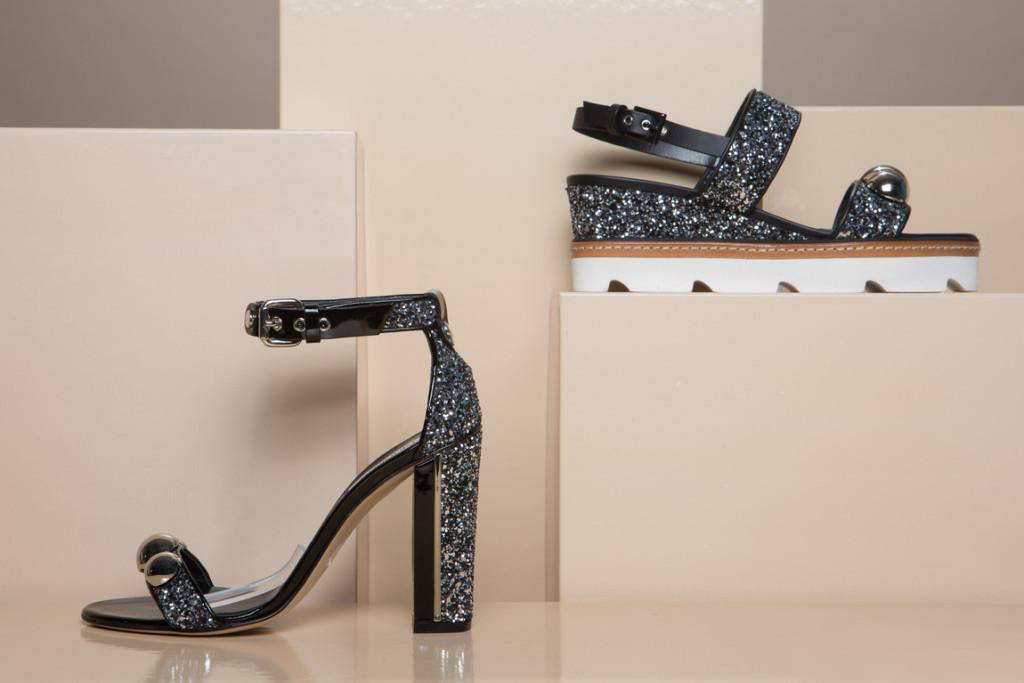 sandali glitter block heel