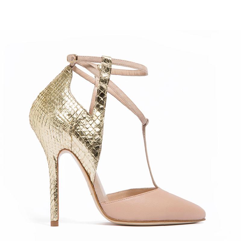 damico milano scarpe cipria e oro