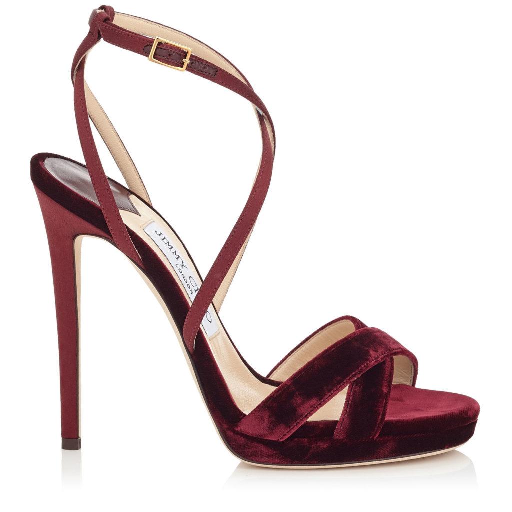 sandali rosso velluto