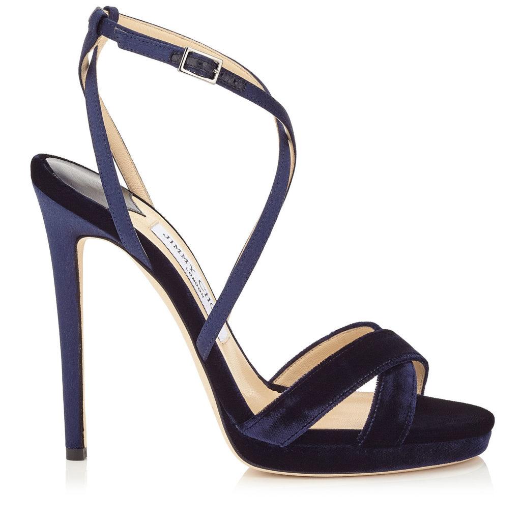 sandali velluto blu