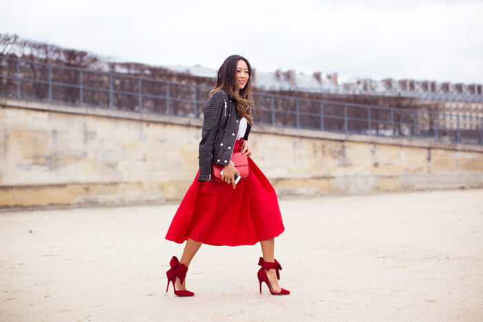 song_of_style_red_skirt_red_bow_pumps