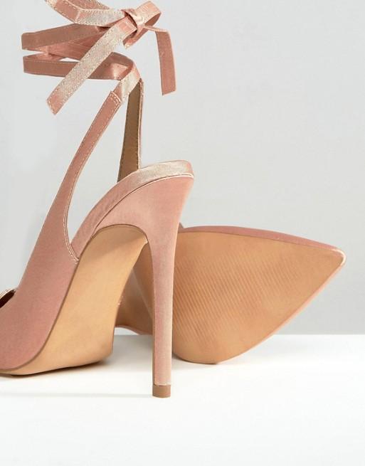 scarpe rosa lacci tacco