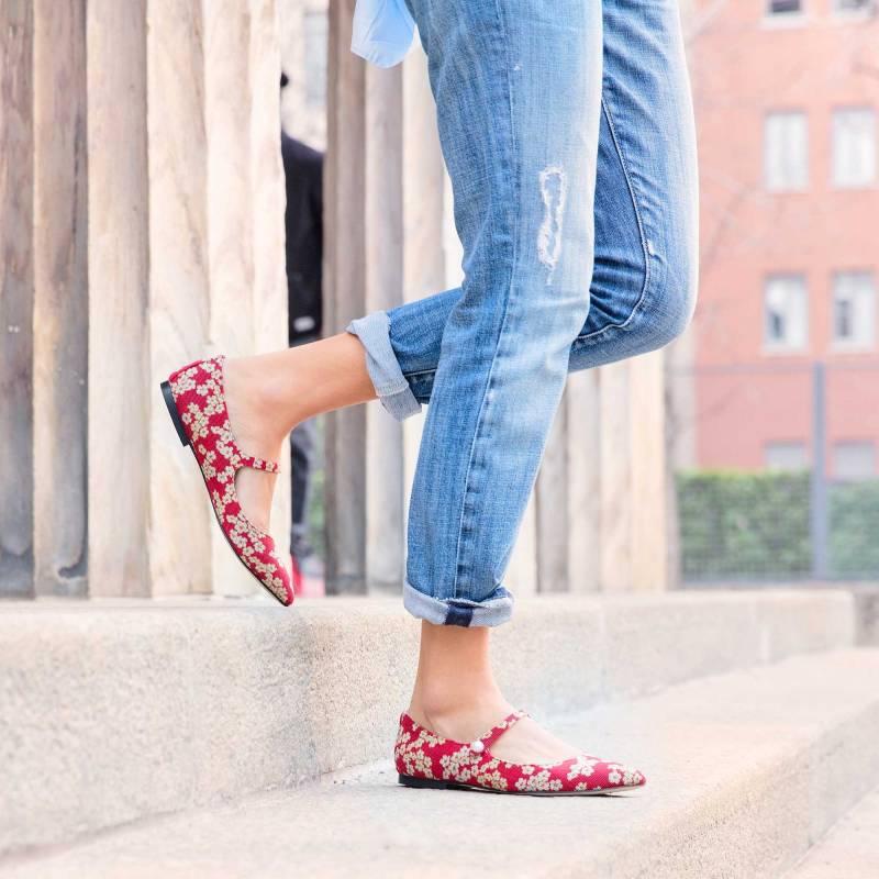 ballerine-tessuto-jacquard-rosso-fiori