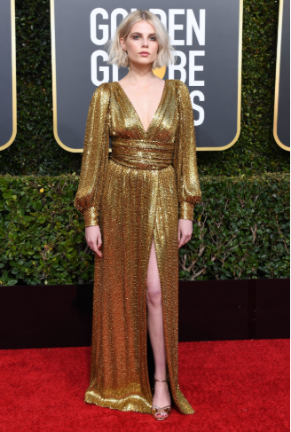 lucy boynton vestito golden globe 2019 dress
