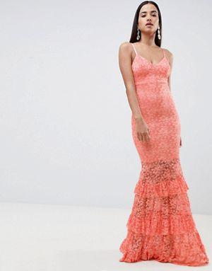 vestito corallo low cost pizzo