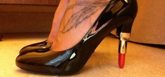 scarpe tacco rossetto